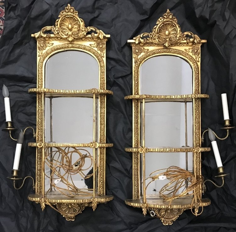Pair of gilt wood mirrored wall shelves