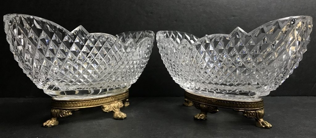 Pair of glass and gilt metal bowls