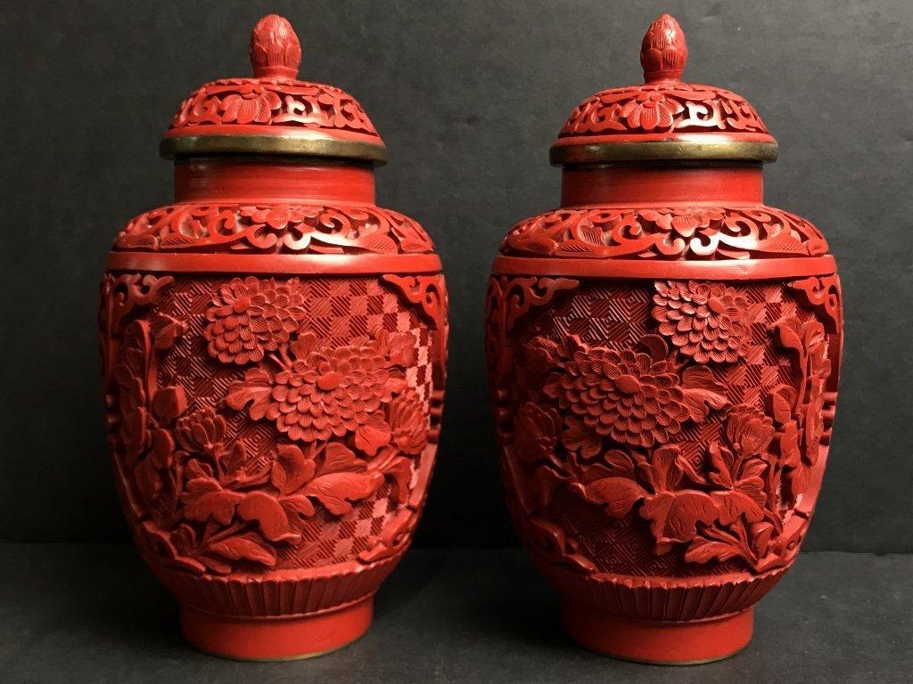 Pair of Chinese cinnabar vases