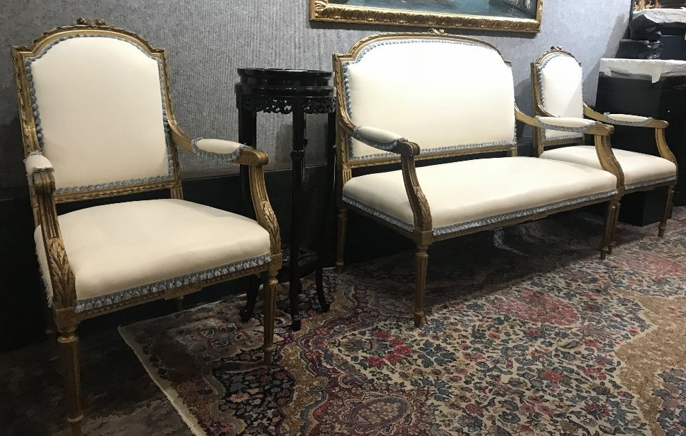 Gilt wood and upholstered parlor suite