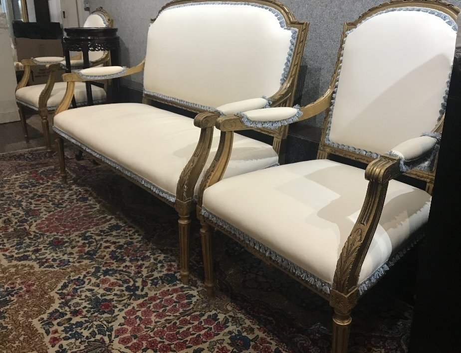 Gilt wood and upholstered parlor suite - 2