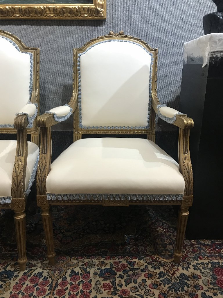 Gilt wood and upholstered parlor suite - 3