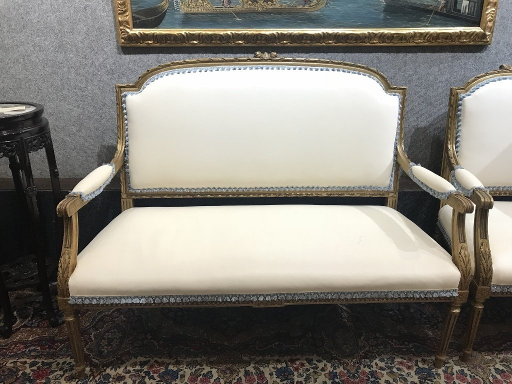 Gilt wood and upholstered parlor suite - 4