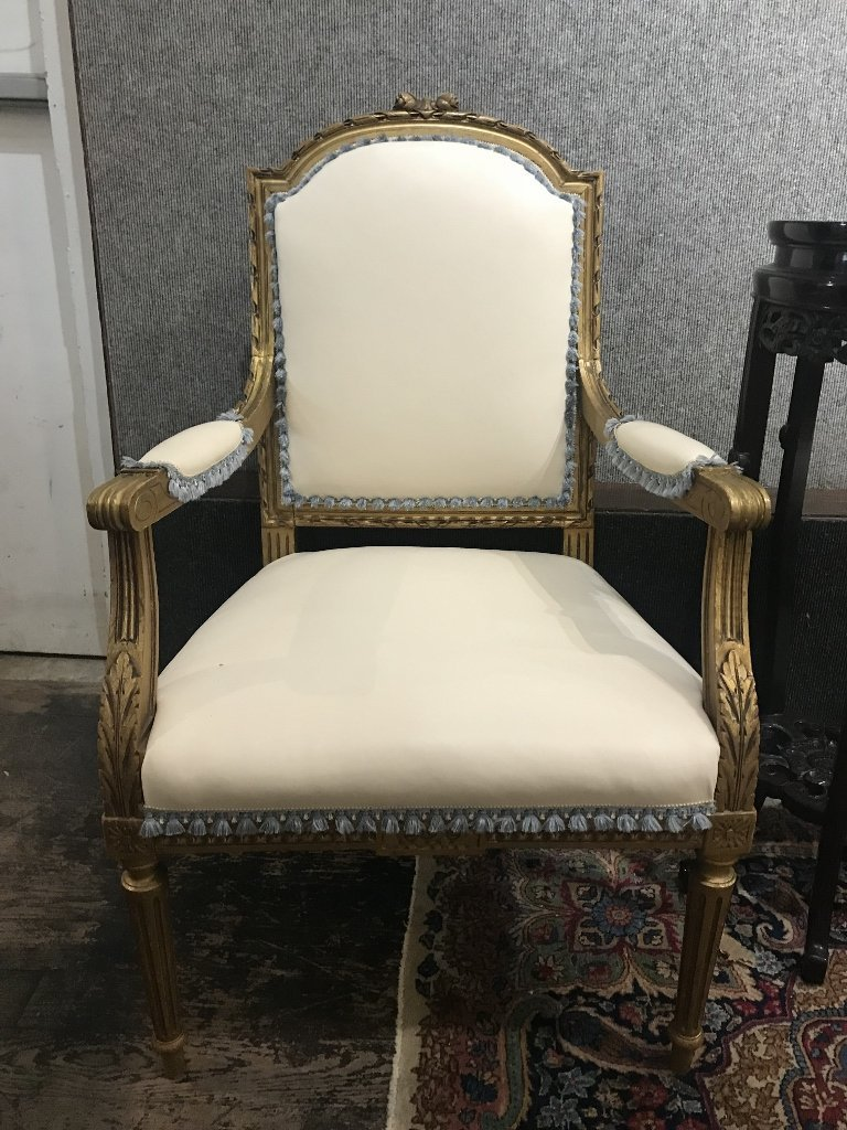 Gilt wood and upholstered parlor suite - 5