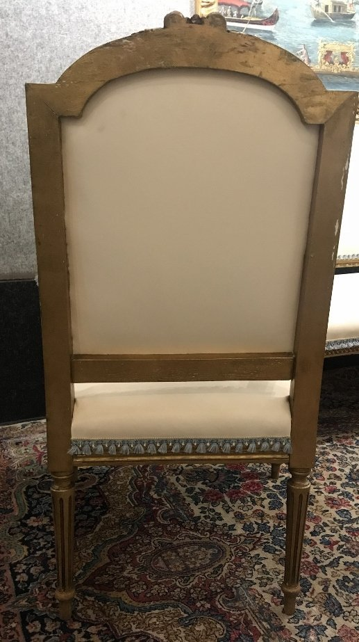 Gilt wood and upholstered parlor suite - 6