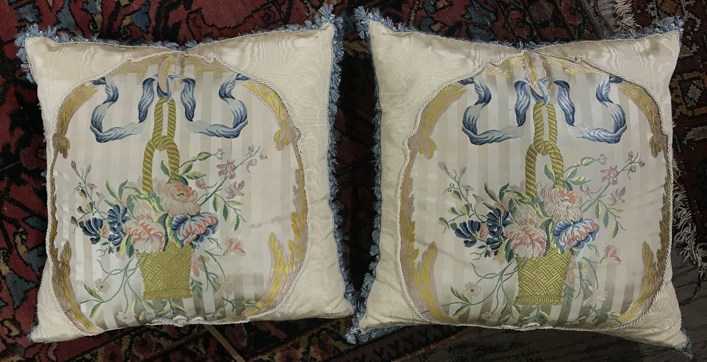 Two silk embroidered pillows, circa 1970