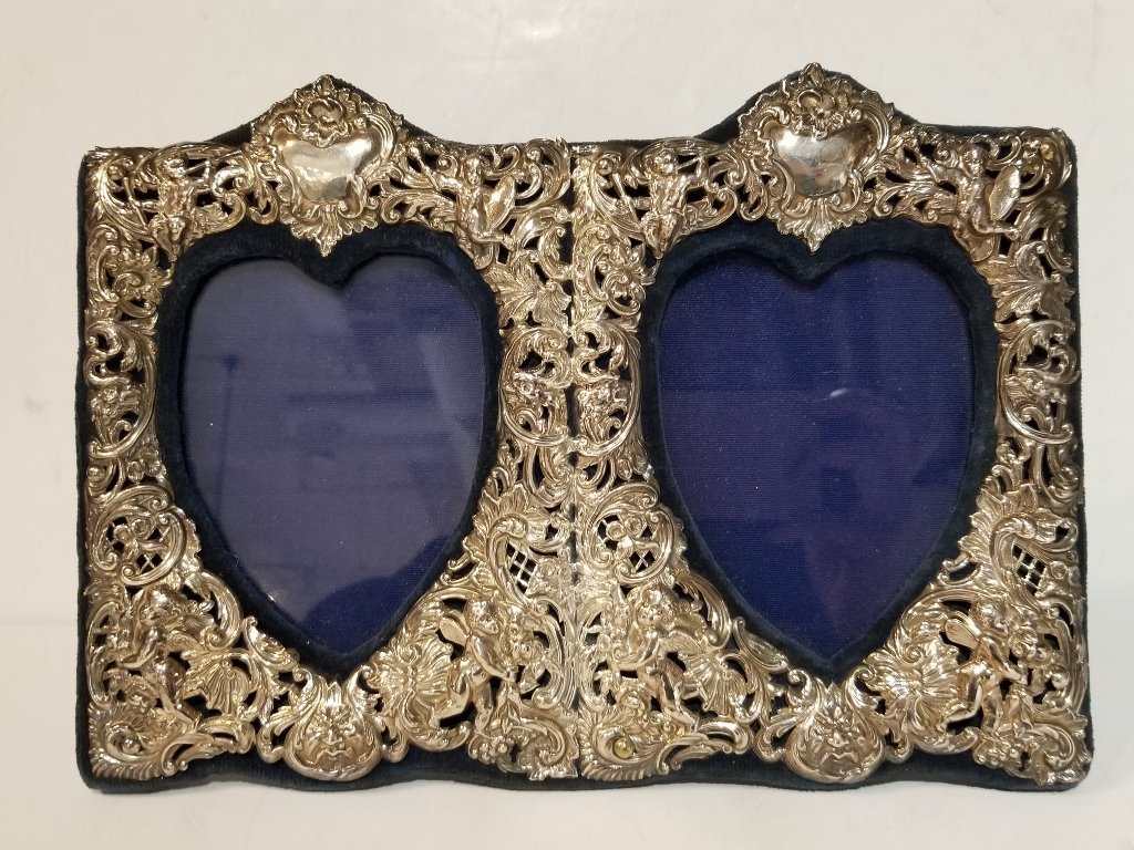 Double sterling heart frame, circa 1980