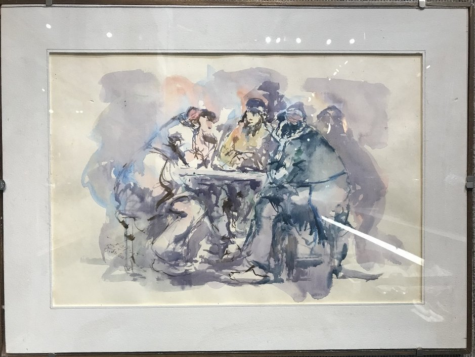 Israeli watercolor,signed, c.1970