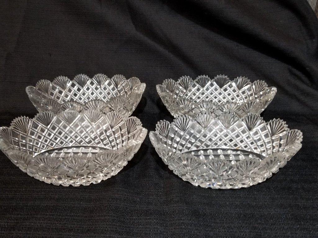Cut crystal bowls in 2 trays