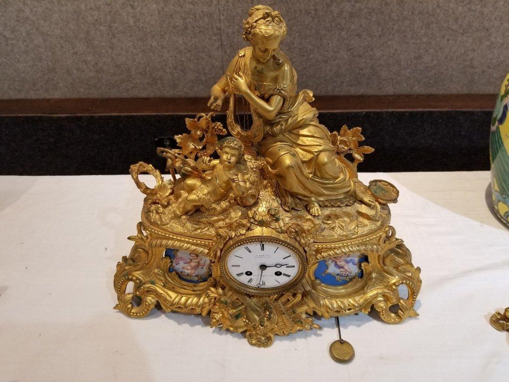Gilt bronze clock Constantin L Detouche, 19th century