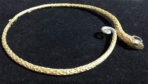 Sterling collar snake necklace 23  t oz