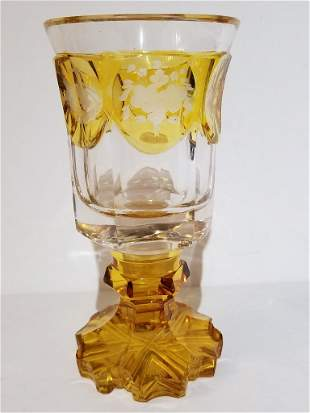 Engraved 19th century glass beaker