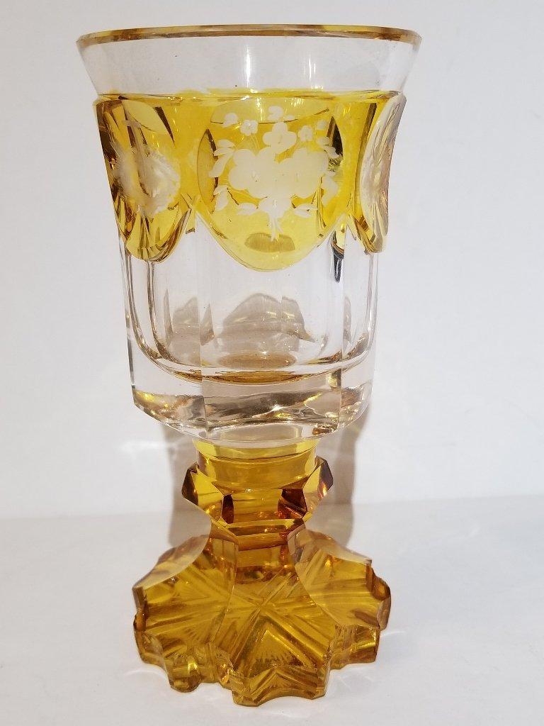 Engraved 19th century glass beaker
