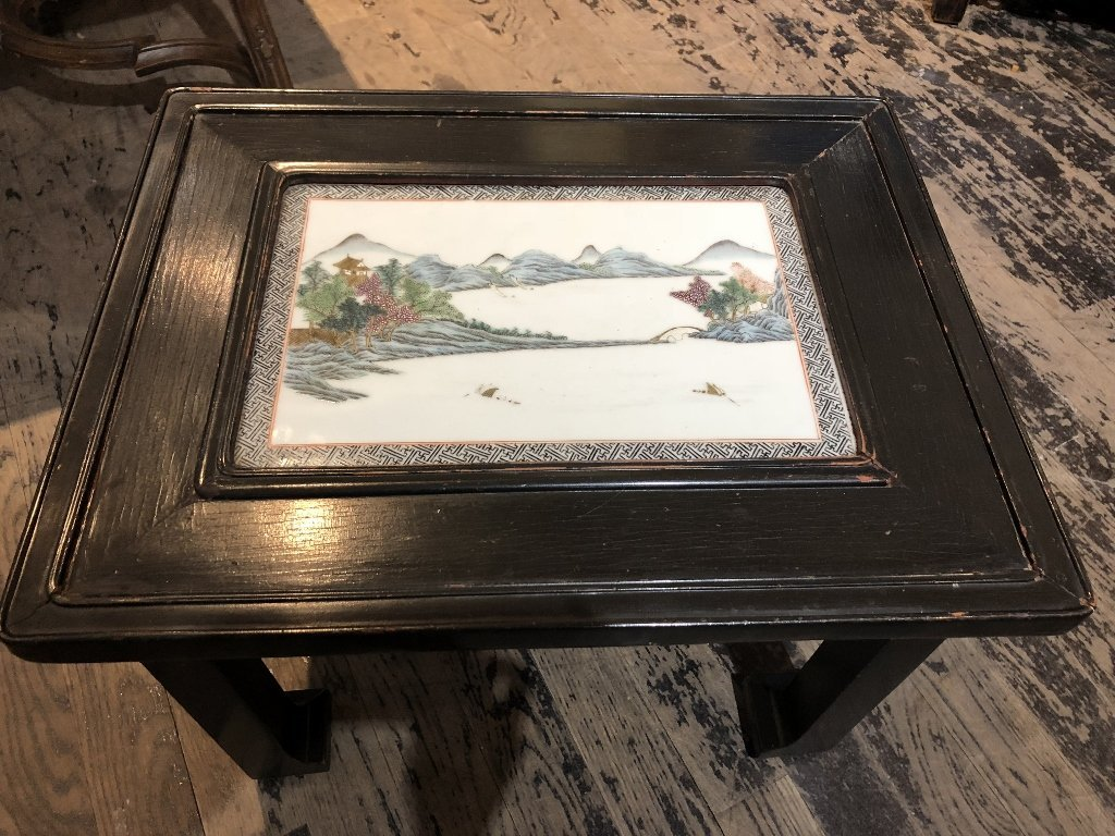 Chinese porcelain plaque table, c.1930