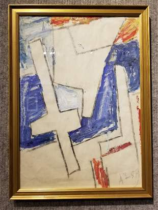 Acrylic on paper by Anatoly Zverev(Cross)-Ambassador