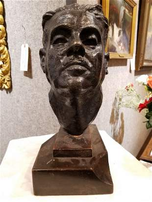 Bronze bust of man, signed illegibly, c.1930