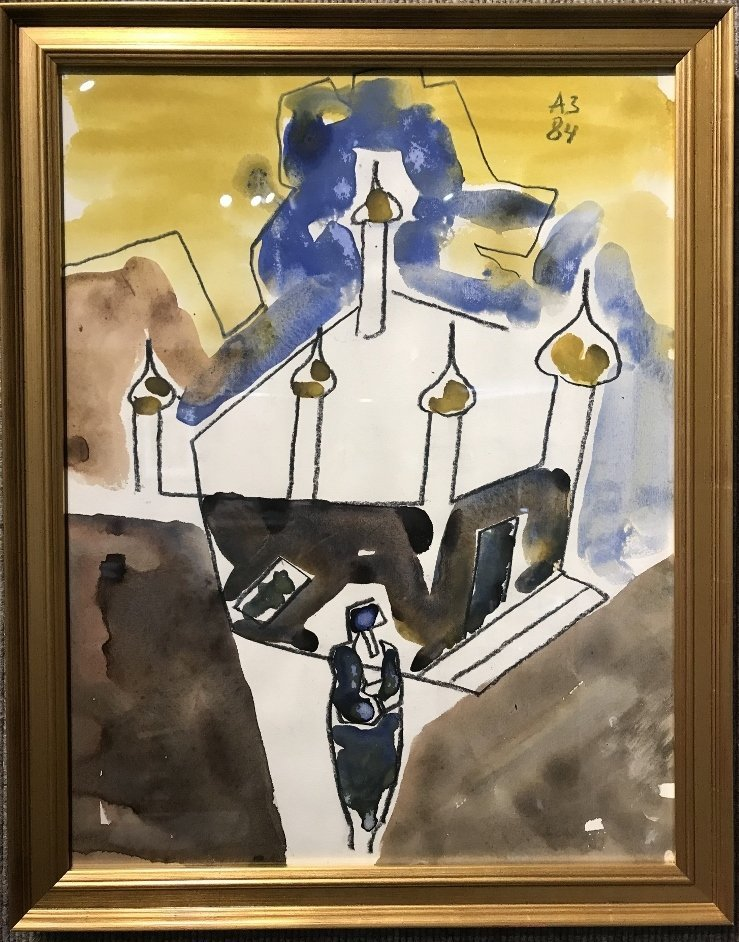 Gouache on paper by Anatoly Zverev(Church)