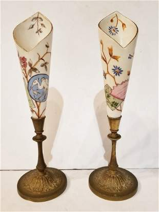 Pair of porc and bronze flower vases, circa 1880