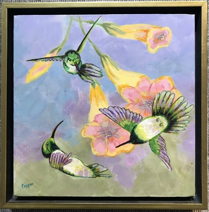 Painting of hummingbirds by Sonni Cooper, .c1980.