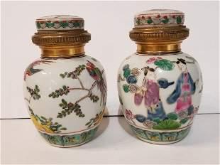 Samson porcelain and 800 silver jars