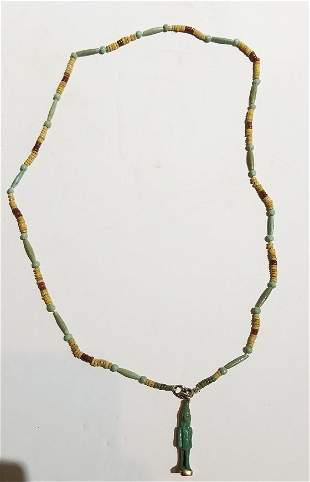 Egyptian 14k gold and Shabti necklace