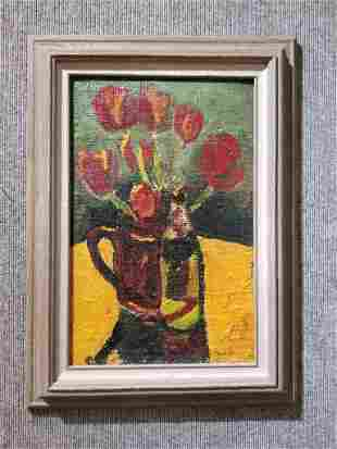 Flower painting by Simon F.S. Mondzain(Fr.Polish 20th)