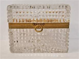 Glass box, gilt metal hinge, c.1965