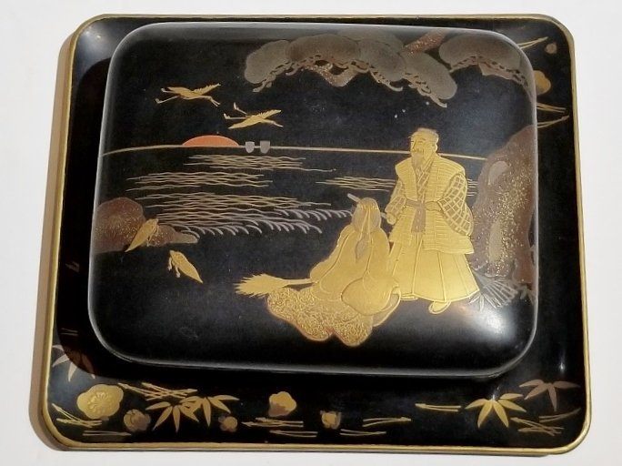 Japanese lacquer box and tray