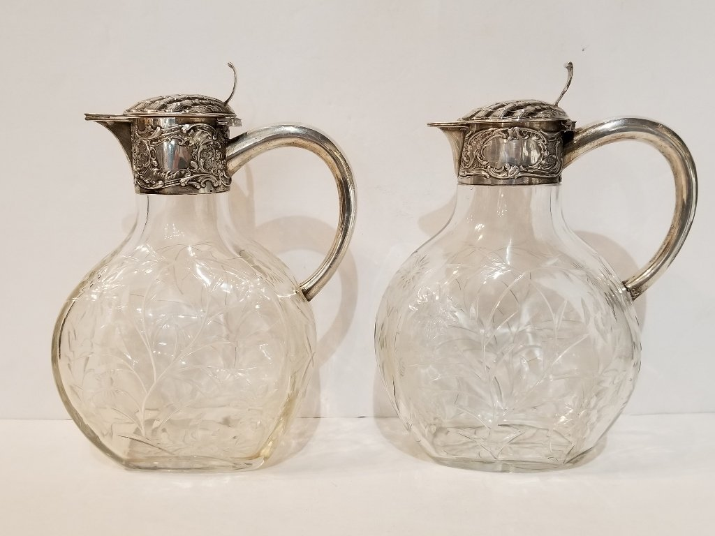 Pair of 800 silver etched crystal carafes