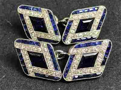 Platinum sapphire, diamond deco cufflinks, circa 1925