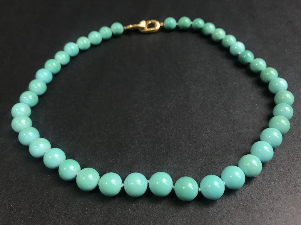 14k and natural turquoise necklace, GIA report