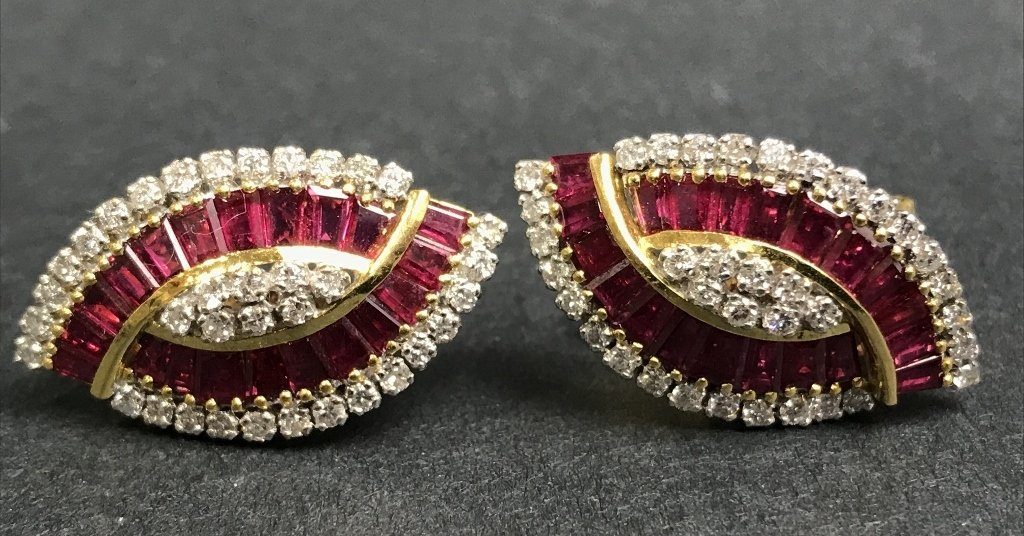 18k natural ruby and diamond earrings, 8.3 dwts