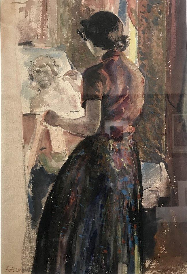 Gouache of Ethel Edwards by Xavier Gonzalez, Paris 1938
