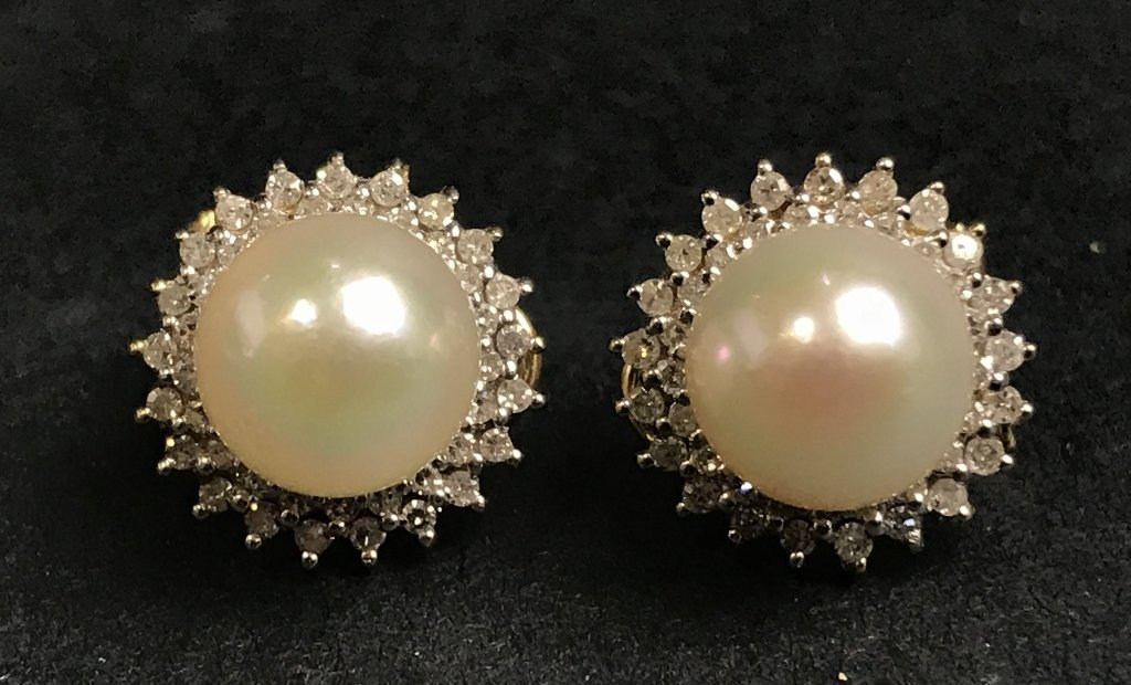 14k cultured pearl and diamond earrings, 2.9 dwts