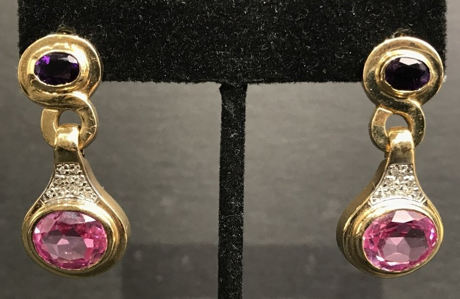 14k amethyst, pink sapphire diamond earrings