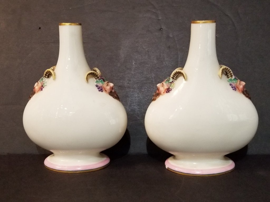 Pair of Royal Worcester small Satyr vases, c.1880