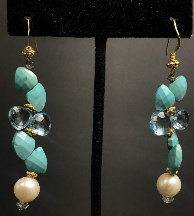 14k turquoise aqua and pearl earrings, 6.3 dwts