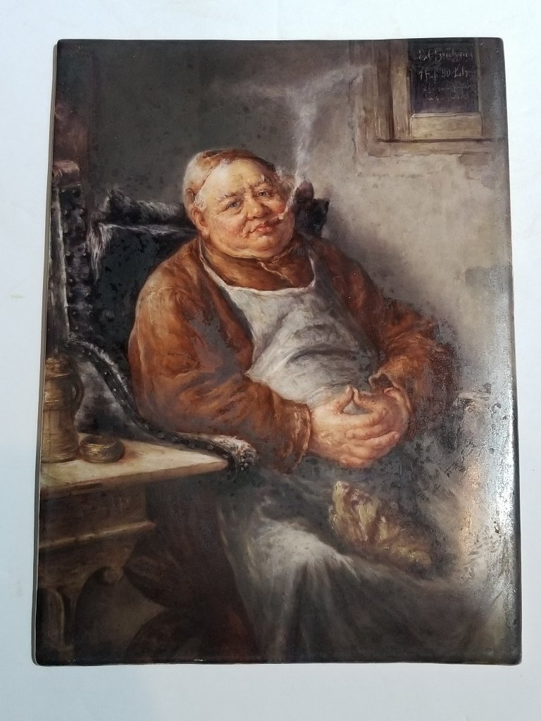 KPM plaque of a monk drinking, c.1900