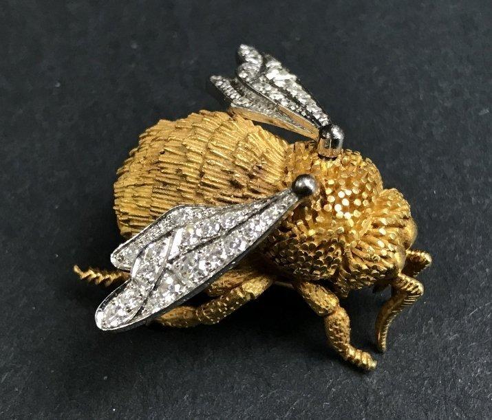 Tiffany & Co France, 18k diamond bee brooch,12.5dwts