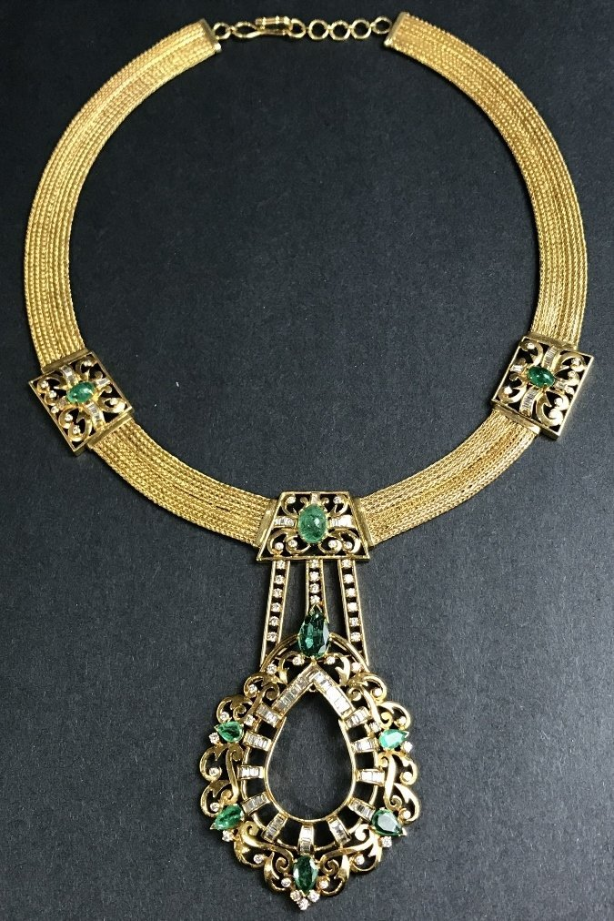 Magnificent 18k emerald diamond necklace,c.1975