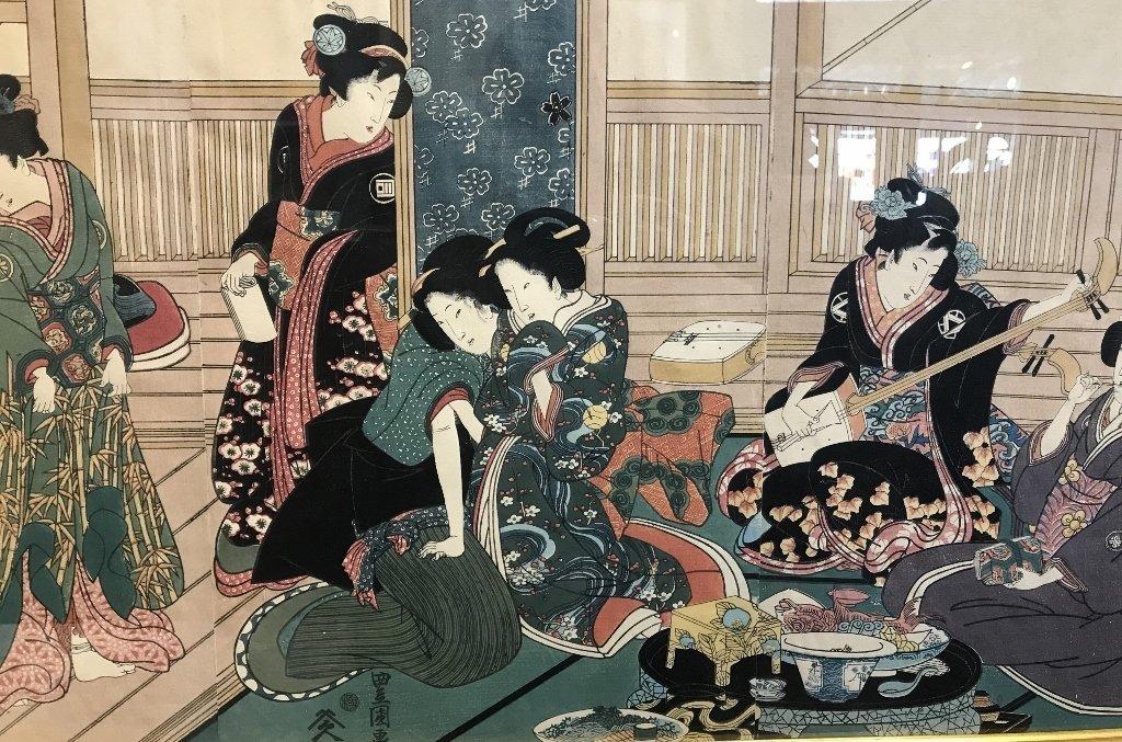 Japanese triptych by Toyokuni Ga