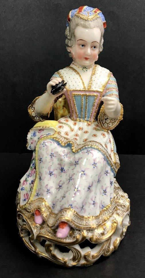 Jacob Petit porc figurine lady seamstress, circa 1900