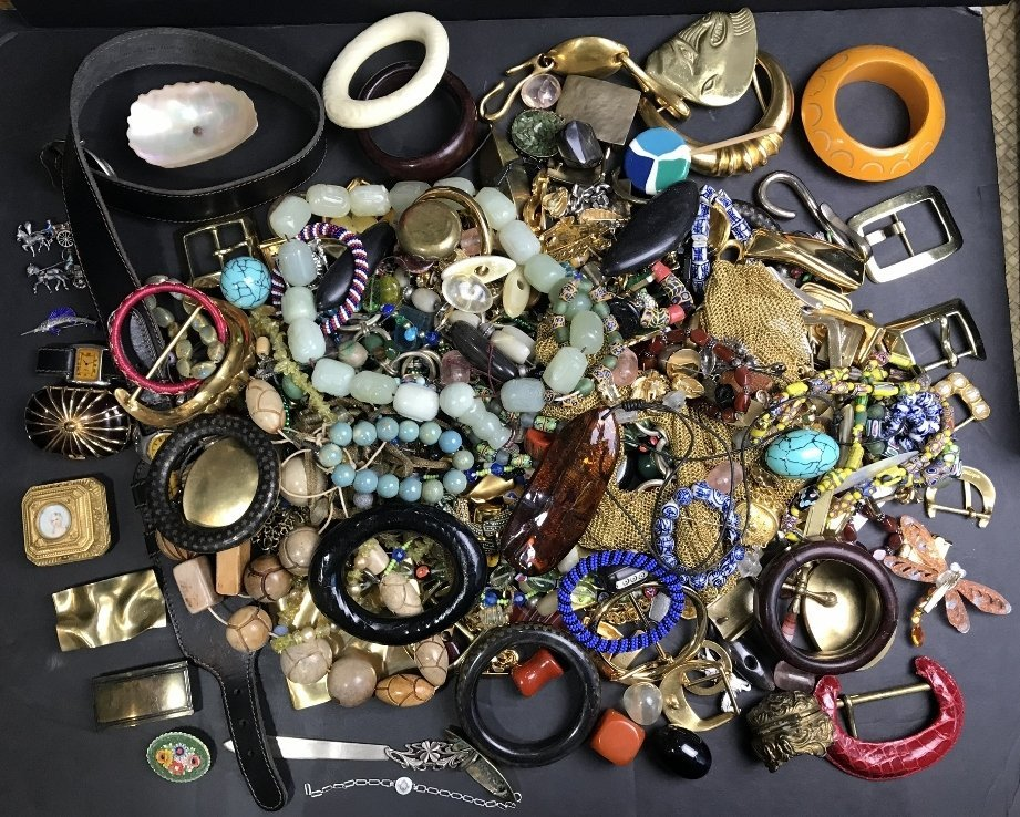 Costume jewelry in 2 trays