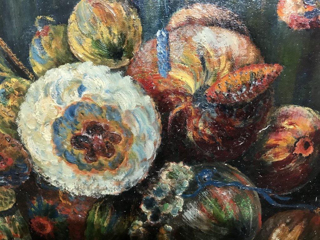 Flower painting signed Peneynr(?),Paris 1928