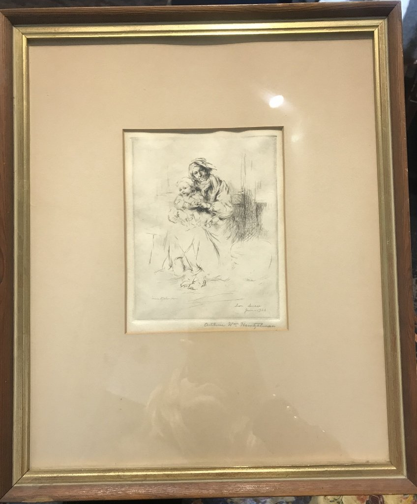 Etching of old woman and child by Arthur Heintzelman,