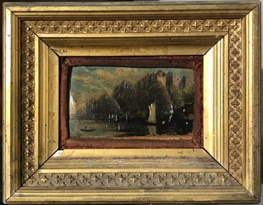Small sailboat painting in gilt wood frame