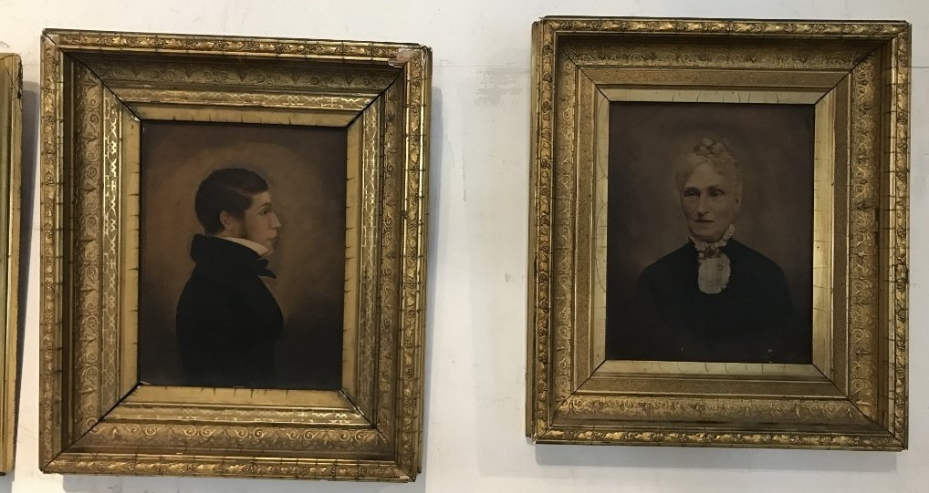 Pair of tinted photos, gilt wood frames, c.1880