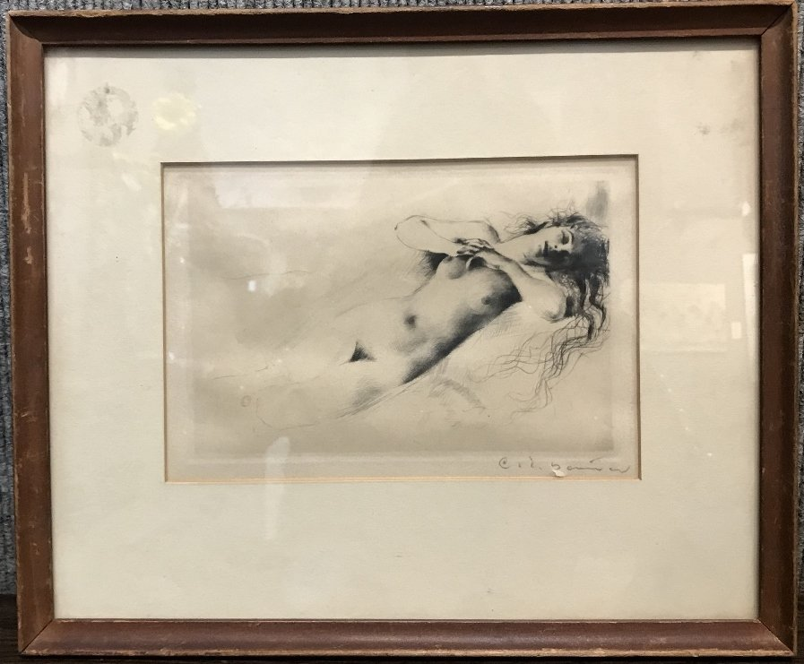 Etching of nude, signed, small tear