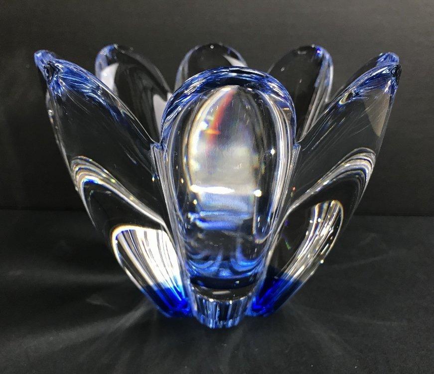 Blue Orrefors flower bowl, c.1975