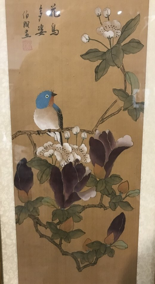 Chinese painting on silk, bird and flowers